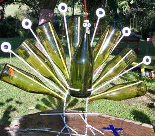 Поделки из стеклянных бутылок для сада и описание